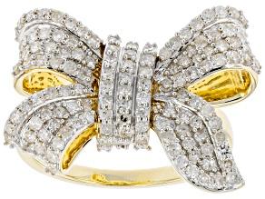 White Diamond 10K Yellow Gold Bow Ring 1.00ctw