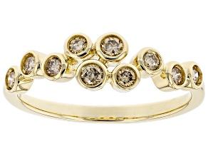 Champagne Diamond 10K Yellow Gold Band Ring 0.33ctw