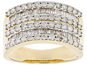 White Diamond 10K Yellow Gold Wide Band Ring 1.30ctw