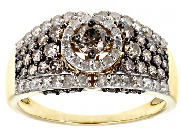 Picture of Champagne And White Diamond 10K Yellow Gold Center Design Ring 1.45ctw