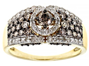 Champagne And White Diamond 10K Yellow Gold Center Design Ring 1.45ctw