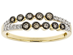 Champagne And White Diamond 10K Yellow Gold Band Ring 0.25ctw