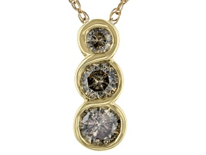 Champagne Diamond 10K Yellow Gold 3-Stone Pendant With Chain 0.50ctw