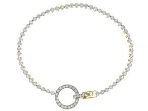 White Diamond 10K Yellow Gold Circle Tennis Bracelet 1.00ctw