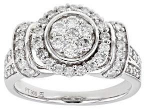White Diamond Platinum Cluster Ring 1.00ctw