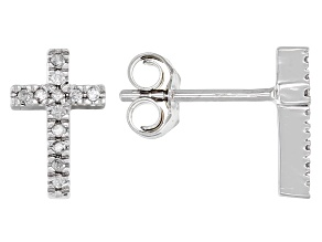 White Diamond 10k White Gold Stud Cross Earrings 0.10ctw