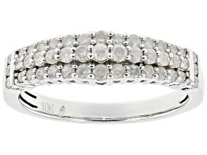 White Diamond 10k White Gold Multi-Row Band Ring 0.50ctw