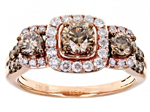 Champagne And White Diamond 10k Rose Gold 3-Stone Halo Ring 1.50ctw