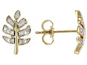 White Diamond Accent 10K Yellow Gold Leaf Earrings