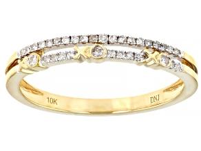 White Diamond 10K Yellow Gold XOXO  Band Ring 0.15ctw