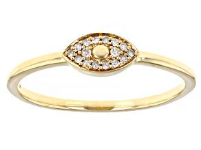 White Diamond Accent 10K Yellow Gold Eye Ring