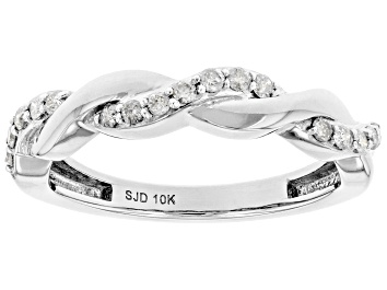 Picture of White Diamond 10k White Gold Twisted Band Ring 0.15ctw