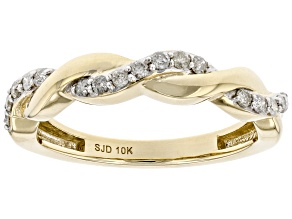 White Diamond 10k Yellow Gold Twisted Band Ring 0.15ctw