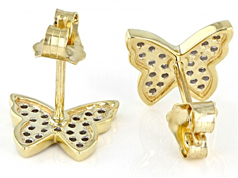White Diamond 10k Yellow Gold Butterfly Earrings 0.20ctw
