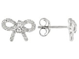 White Diamond 10k White Gold Bow Earrings 0.25ctw
