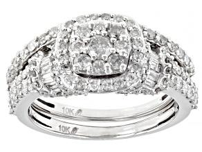 White Diamond 10k White Gold Engagement Ring And Wedding Band Set 1.40ctw