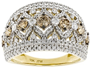 Champagne And White Diamond 10K Yellow Gold Wide Band Ring 1.75ctw