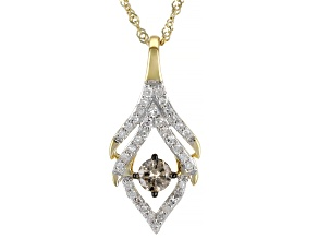 Champagne And White Diamond 10K Yellow Gold Center Design Pendant With Singapore Chain 0.36ctw