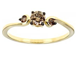 Champagne Diamond 10K Yellow Gold 3-Stone Ring 0.40ctw