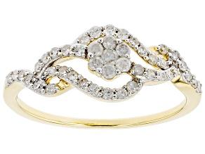 White Diamond 10K Yellow Gold Floral Open Design Ring 0.35ctw