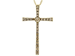 Champagne Diamond 10K Yellow Gold Cross Pendant With Singapore Chain 1.00ctw
