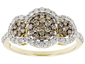 Champagne And White Diamond 10K Yellow Gold Cluster Ring 0.80ctw