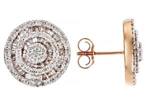 White Diamond 10K Rose Gold Cluster Earrings 1.20ctw