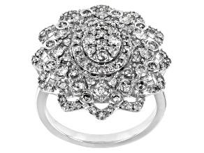 White Diamond 10K White Gold Floral Cocktail Ring 1.50ctw