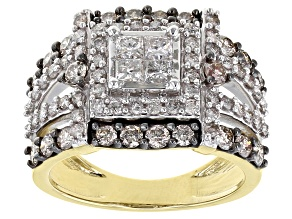 Champagne And White Diamond 10K Yellow Gold Quad Ring 1.45ctw
