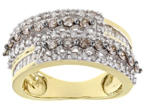 Champagne And White Diamond 10K Yellow Gold Wide Band Ring 1.00ctw