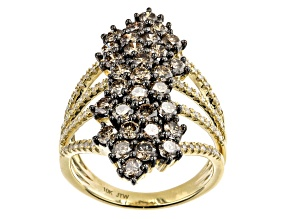 Champagne And White Diamond 10k Yellow Gold Cocktail Ring 2.50ctw