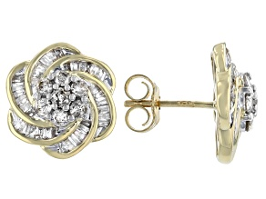White Diamond 10K Yellow Gold Floral Cluster Earrings 1.20ctw