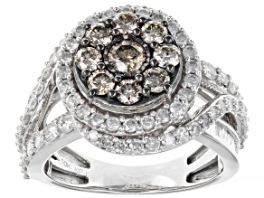 Champagne And White Diamond 10K White Gold Cluster Ring 2.00ctw