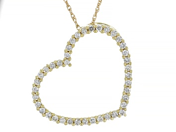 Picture of White Diamond 10K Yellow Gold Heart Pendant With Chain 0.75ctw