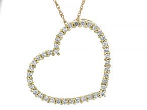 White Diamond 10K Yellow Gold Heart Pendant With Chain 0.75ctw