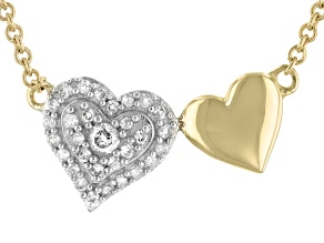 White Diamond 10K Yellow Gold Double Heart Necklace 0.10ctw