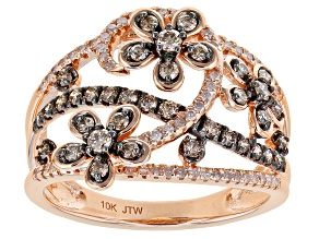 Champagne And White Diamond 10k Rose Gold Floral Open Design Ring 0.75ctw