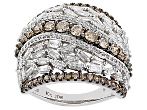 White And Champagne Diamond 10k White Gold Wide Band Ring 2.00ctw
