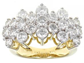 White Diamond 10K Yellow Gold Pyramid Ring 3.00ctw
