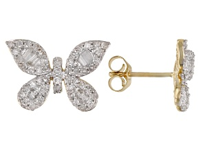 White Diamond 10K Yellow Gold Butterfly Cluster Earrings 0.70ctw