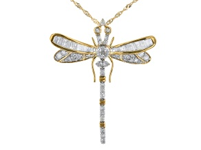 White Diamond 10K Yellow Gold Dragonfly Pendant With Chain 0.70ctw