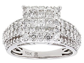 Picture of White Diamond 10k White Gold Cluster Ring 1.50ctw