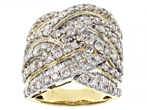 White Diamond 10k Yellow Gold Crossover Cocktail Ring 4.00ctw