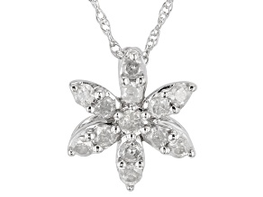 """White Diamond 10k White Gold Floral Pendant With 18"""" Rope Chain 0.25ctw"""
