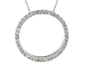 "White Diamond 10k White Gold Circle Pendant With 18"" Rope Chain 0.50ctw"