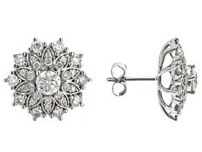 White Diamond 10k White Gold Cluster Stud Earrings 1.50ctw