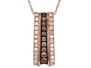 """White And Champagne Diamond 10k Rose Gold Pendant W/ 18"""" Rope Chain 0.40ctw"""