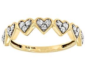 White Diamond 10k Yellow Gold Heart Band Ring 0.25ctw