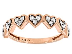 White Diamond 10k Rose Gold Heart Band Ring 0.25ctw