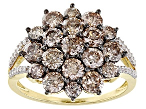Champagne And White Diamond 10K Yellow Gold Cluster Ring 2.50ctw